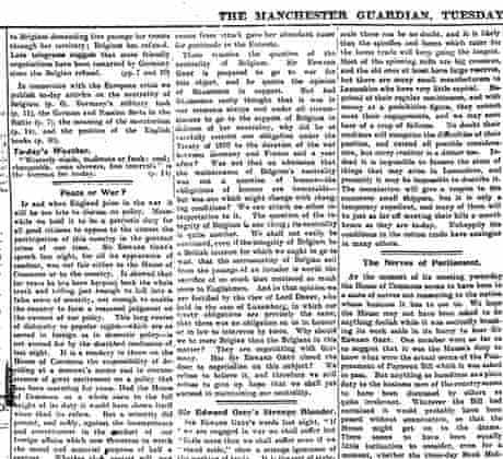 Excerpt from Manchester Guardian editorial on 4 August 1914.