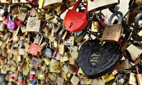 Love locks on the Pont des Arts, Paris, France