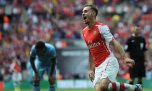 Arsenal's Aaron Ramsey celebrates his goal