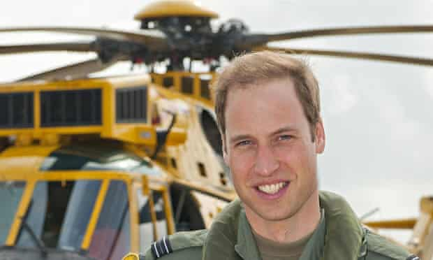 Prince William with a helicopter