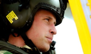 Prince William in a helicopter