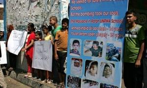 Gaza Palestinian Children Protest against bombing of school