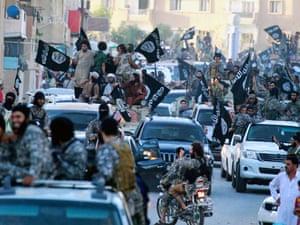 Islamic State fighters in Raqqa.