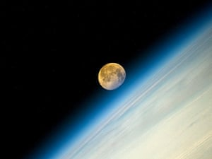 The 'supermoon' pictured from the International Space Station.