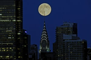 The supermoon behind the Chrysler Building in New York City