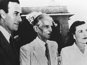 Muhammad Ali Jinnah, centre, founder of Pakistan, with Lord and Lady Mountbatten in 1947. Mountbatten was the last British viceroy of India