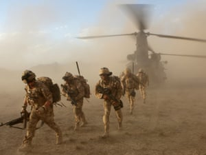 Soldiers of the The Black Watch, 3rd Battalion, The Royal Regiment of Scotland, in the desert of Afghanistan's Upper Sangin Valley, in May 2009.