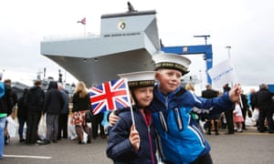 HMS Queen Elizabeth, the largest warship built in the UK, at a naming ceremony in Fife's Rosyth dockyard in July.