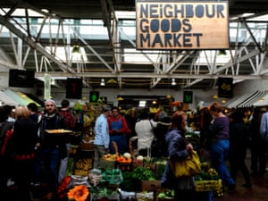 Hipsters and tourists flock to the market at the Old Biscuit Mill to enjoy the pricey gourmet foods on offer.