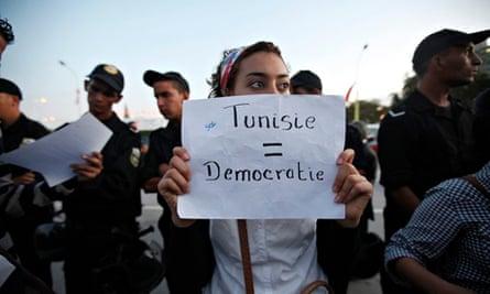 A Tunisian demonstrator
