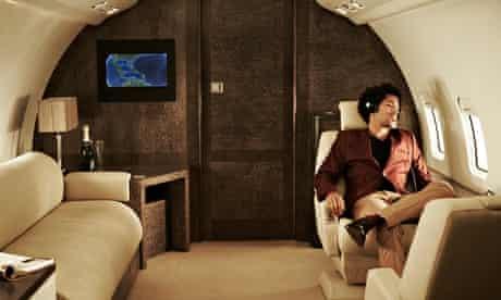 Man on private jet