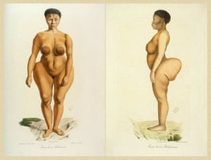 An illustration of Sara Baartman, AKA the Hottentot Venus, who was brought to Europe in 1810 and put in a human zoo.