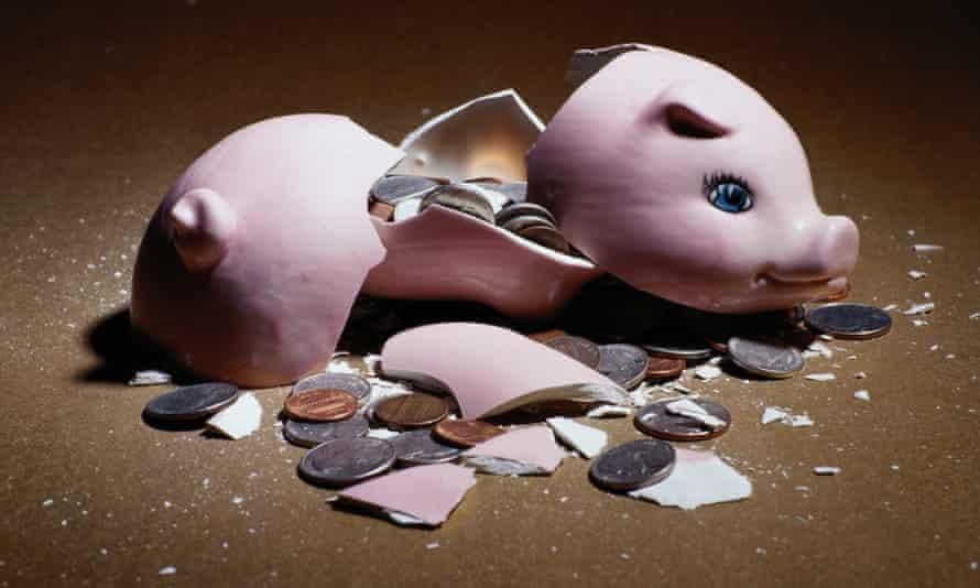 US Money broken piggy bank bully
