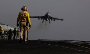 Plane lands on US aircraft carrier George HW Bush