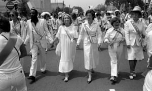 Leading supporters of the Equal Rights Ammendment march in Washington on Sunday, July 9, 1978, urging Congress to extend the time for ratification of the ERA.
