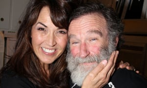 """Susan Schneider and fiancee Robin Williams pose backstage at the hit play """"Bengal Tiger at The Baghdad Zoo"""" on Broadway at The Richard Rogers Theater on June 15, 2011 in New York City."""