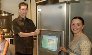 Steve Wilson and Charlie Parker pose with an internet fridge in 2002.