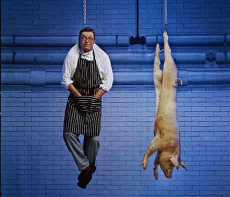 Fergus Henderson and pig carcass