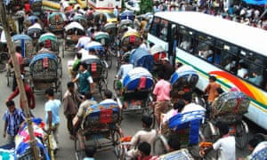 Rickshaws and buses are economic public transports