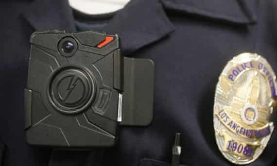 A body-worn camera on an LAPD officer