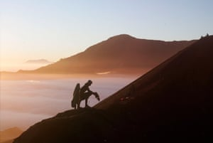 Tengger people place vegetables on Mount Bromo