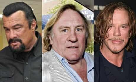 Steven Seagal, Gérard Depardieu and Mickey Rourke composite