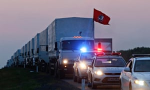 A convoy of lorries which Russia says are carrying humanitarian aid