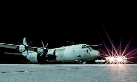 An RAF Hercules on the runway