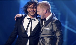 Altiyan Childs, the 2010 winner of X Factor, with judge Ronan Keating
