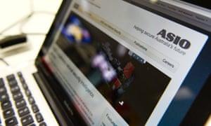 ASIO website on laptop