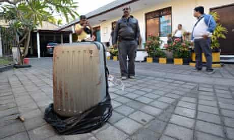 Suitcase outside hotel in Bali