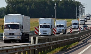 A Russian convoy of trucks carrying humanitarian aid for Ukraine