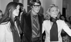 Designer Yves Saint-Laurent poses with Bacall and her daughter Leslie, in Paris in 1968