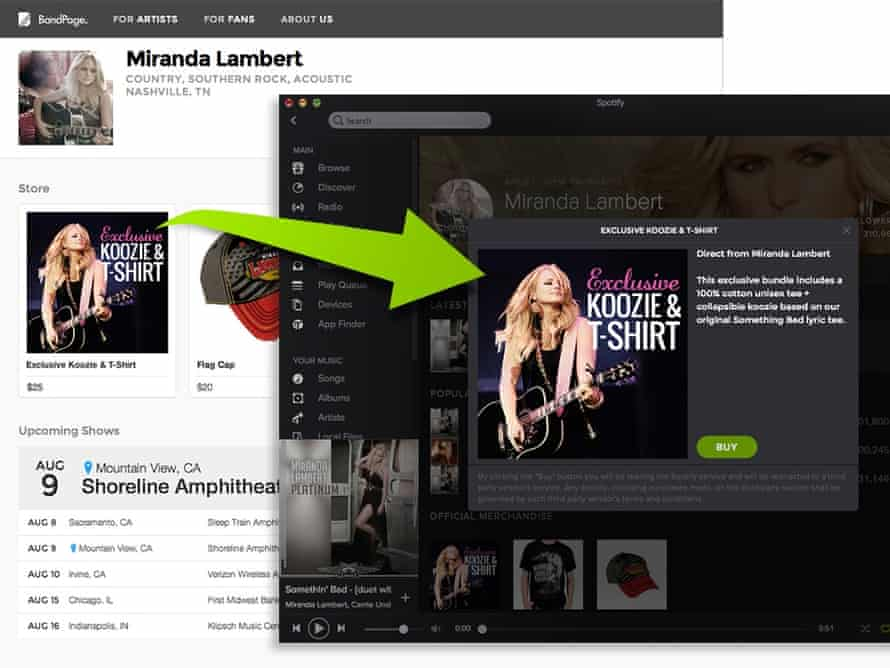 BandPage offers will now be shown within Spotify.