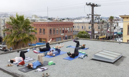 Yoga on the roof of 20Mission