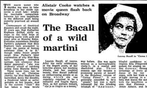 Alistair Cooke on Lauren Bacall in Applause on Broadway, Guardian 2 April 1970