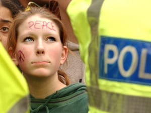 A protester against the war in Iraq, pictured in Edinburgh, March 2003.