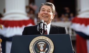 US president Ronald Reagan, pictured at a rally in 1984, caused consternation with a joke about bombing Russia