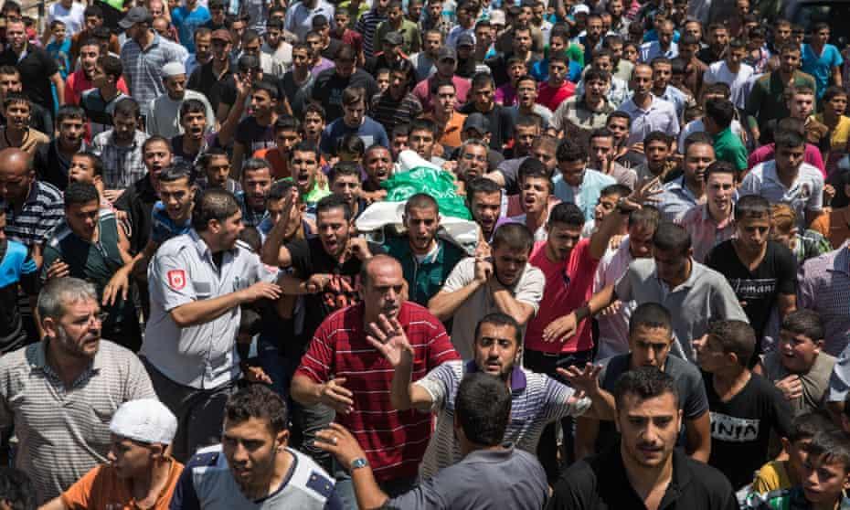The funeral of Rahed Taysir al-Hom.
