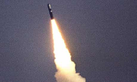 Trident missile in flight