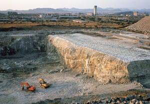 An open cast platinum mine in Marikana.