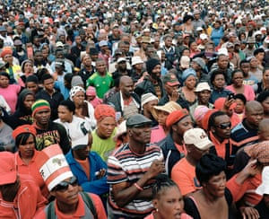 Crowds of EFF supporters gather to hear Julius Malema give a speech