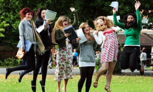 Students celebrate their A-level results at Loughborough High School for Girls, Leicestershire