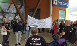 Barnsley's Freedom Riders protest against cuts to free travel passes for pensioners on Wednesday 13 August