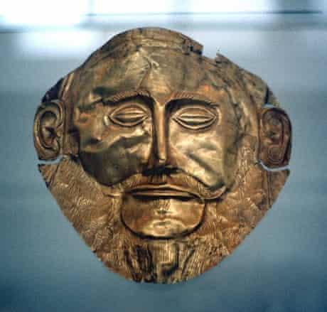 Agamemnon, king of Mycenae. Gold funerary mask