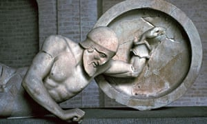 Sculpture of a fallen warrior from the Greek temple of Aphaia at Aegina, 6th century BC.