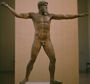 A bronze sculpture of the god Zeus, or possibly Poseidon