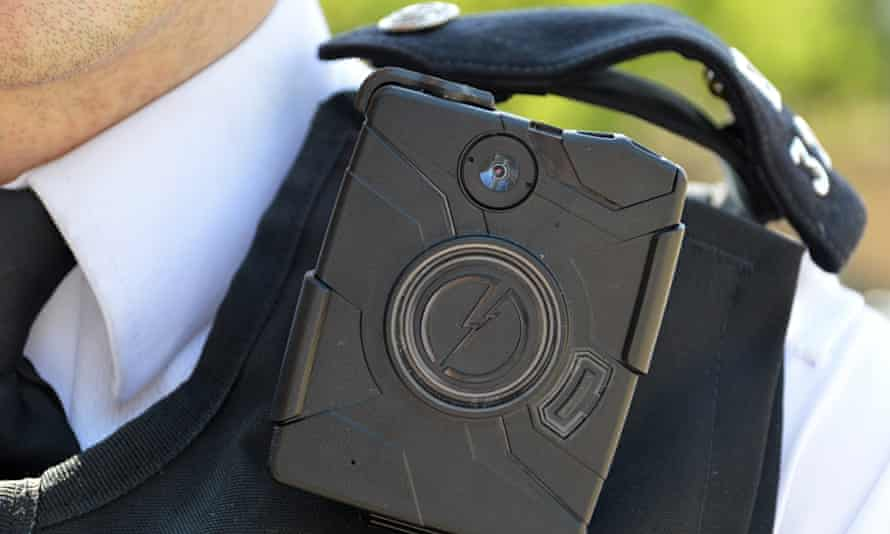 A Metropolitan police officer with a body-worn camera