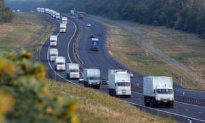 The convoy of trucks travels from Voronezh towards Rostov-on-Don in Russia