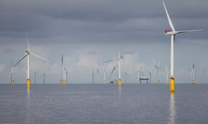 Gwynt y Mor Offshore Wind Farm off the coast of North Wales during the construction phase of spring 2014